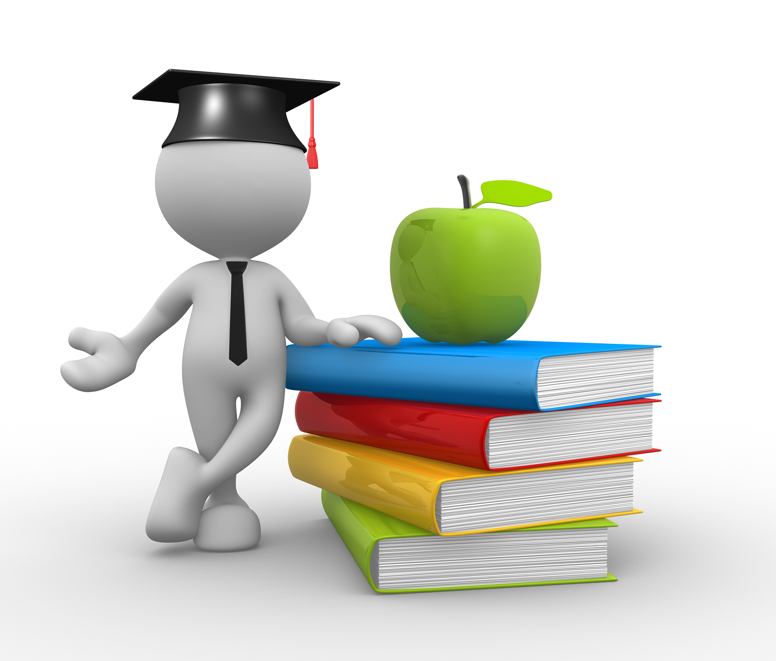 3d people - man person with pile of books and an apple. Graduation cap.